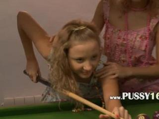 Porn Tube of Ravishing Lezzie Lovers  Come Dirty In Billiard Table