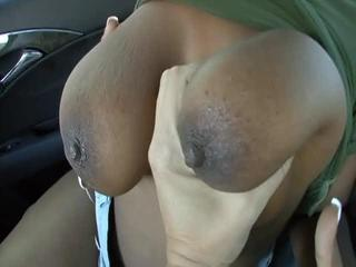 Porn Tube of Lovely Ebony Chick Rides Stiff Cock In Car