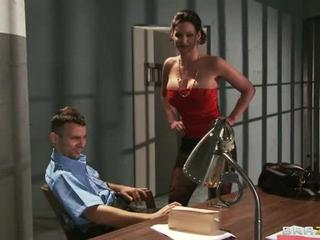 Porn Tube of Naughty Milf Rides Prison Officer To Free Her Husband