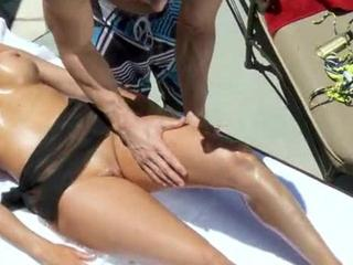 Beautiful Old Mom Strokes & Does Tittie-Job