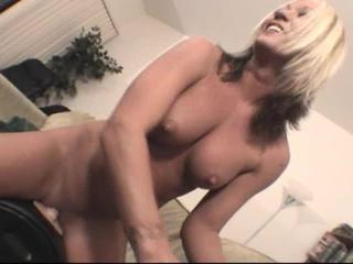 Sex Movie of Large-breasted Blonde Chick Boinks Bizarre Dildo