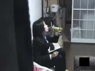 Porn Tube of Japanese Schoolgirl Drinks And Touches Herself