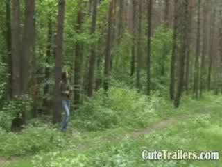 Porn Tube of Beautiful Teen Swallows Rod In Forest