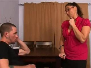 Sex Movie of Mom's Oral Antics Gets The Slut Showered With Semen!